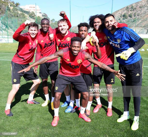 Victor Lindelof Eric Bailly Luke Shaw Fred Angel Gomes Tahith Chong and Sergio Romero of Manchester United in action during a first team training...