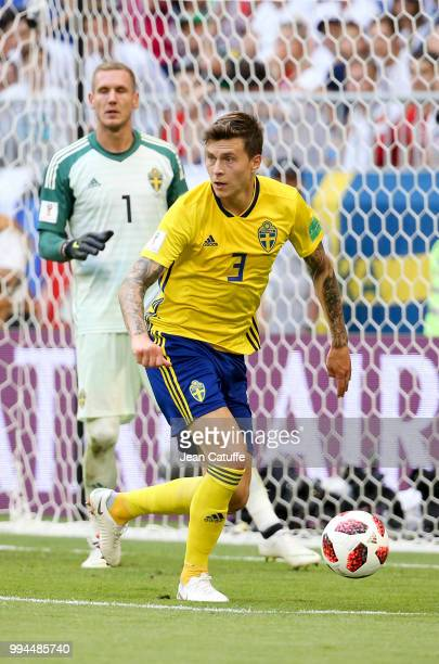 Victor Lindelof goalkeeper of Sweden Robin Olsen during the 2018 FIFA World Cup Russia Quarter Final match between Sweden and England at Samara Arena...