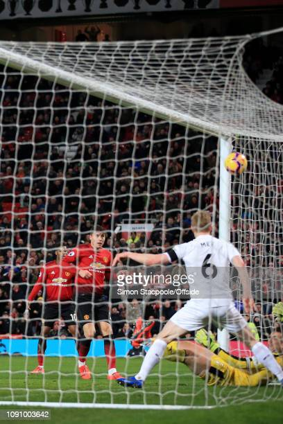 Victor Lindelof of Man Utd scores their 2nd goal during the Premier League match between Manchester United and Burnley at Old Trafford on January 29...