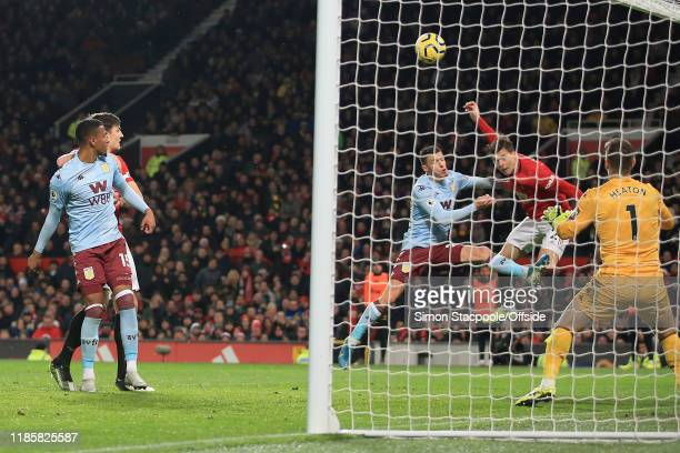 Victor Lindelof of Man Utd scores their 2nd goal during the Premier League match between Manchester United and Aston Villa at Old Trafford on...