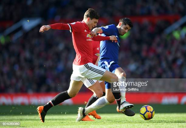 Victor Lindelof of Manchester United and Alvaro Morata of Chelsea compete for the ball during the Premier League match between Manchester United and...
