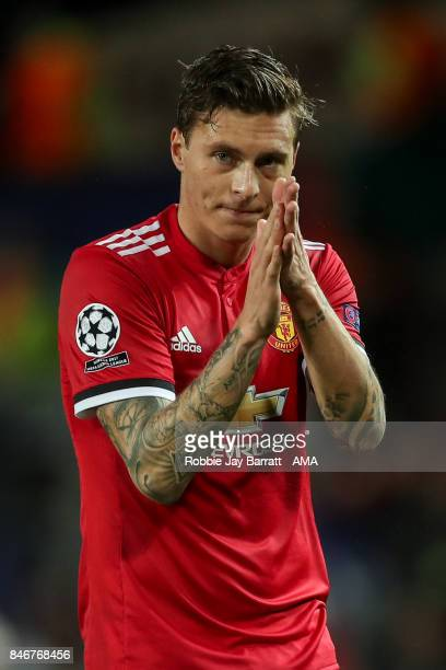 Victor Lindelof of Manchester United applauds during the UEFA Champions League match between Manchester United and FC Basel at Old Trafford on...
