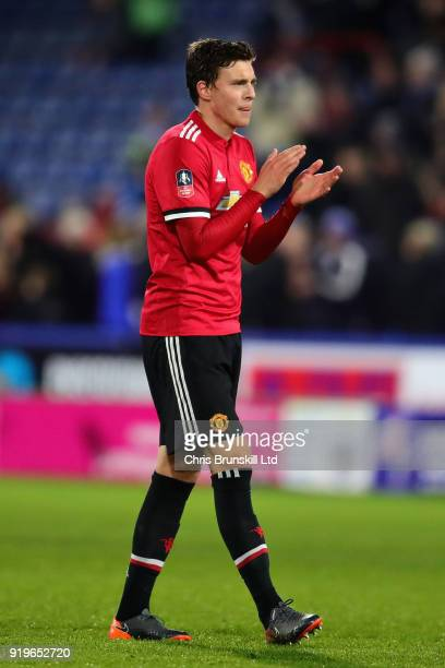 Victor Lindelof of Manchester United applauds the crowd after the Emirates FA Cup Fifth Round match between Huddersfield Town and Manchester United...