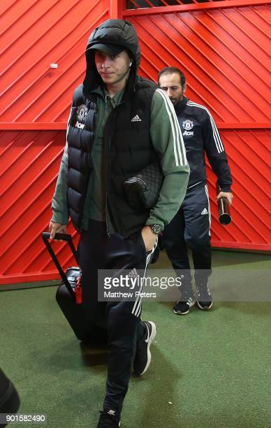 Victor Lindelof of Manchester United arrives ahead of the Emirates FA Cup Third Round match between Manchester United and Derby County at Old...