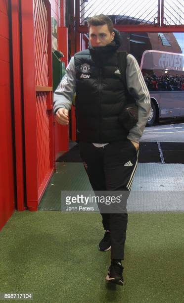 Victor Lindelof of Manchester United arrives ahead of the Premier League match between Manchester United and Burnley at Old Trafford on December 26...