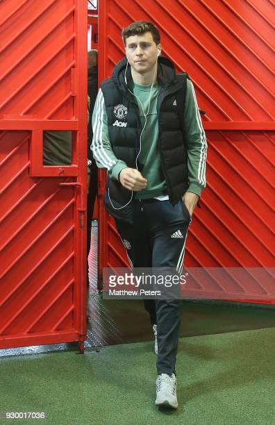 Victor Lindelof of Manchester United arrives ahead of the Premier League match between Manchester United and Liverpool at Old Trafford on March 10...