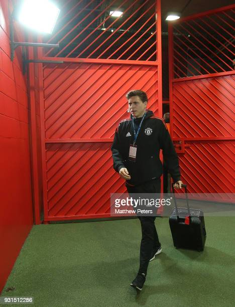 Victor Lindelof of Manchester United arrives ahead of the UEFA Champions League Round of 16 Second Leg match between Manchester United and Sevilla FC...