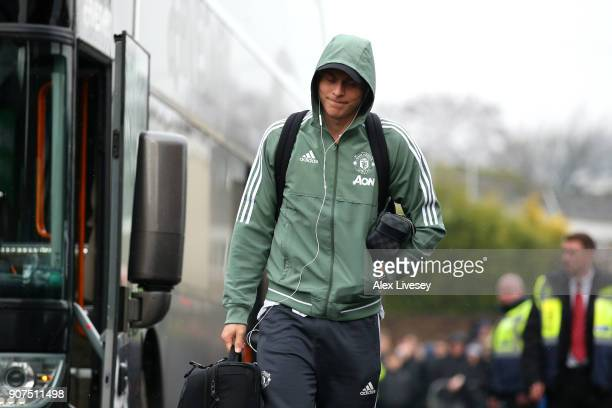 Victor Lindelof of Manchester United arrives at the stadium prior to the Premier League match between Burnley and Manchester United at Turf Moor on...