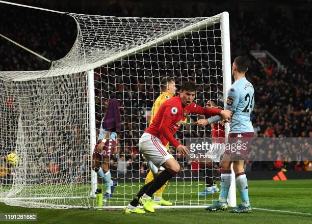 Victor Lindelof of Manchester United celebrates after he scores his sides second goal during the Premier League match between Manchester United and...