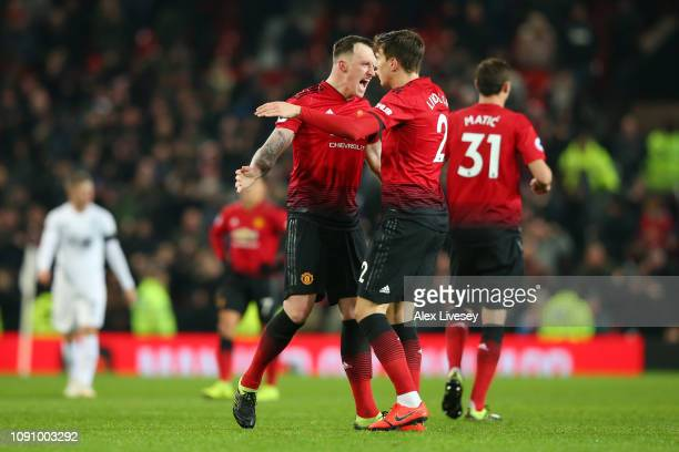 Victor Lindelof of Manchester United celebrates after scoring his team's second goal with Phil Jones of Manchester United during the Premier League...