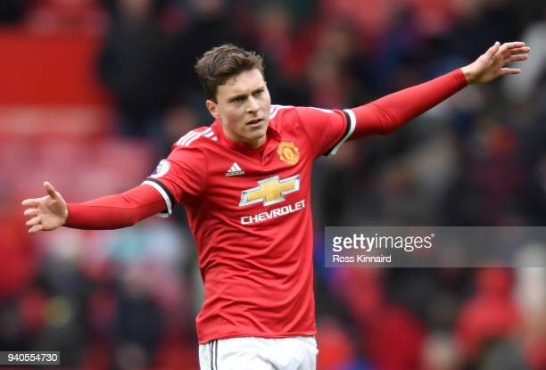 Victor Lindelof of Manchester United celebrates after the Premier League match between Manchester United and Swansea City at Old Trafford on March 31...