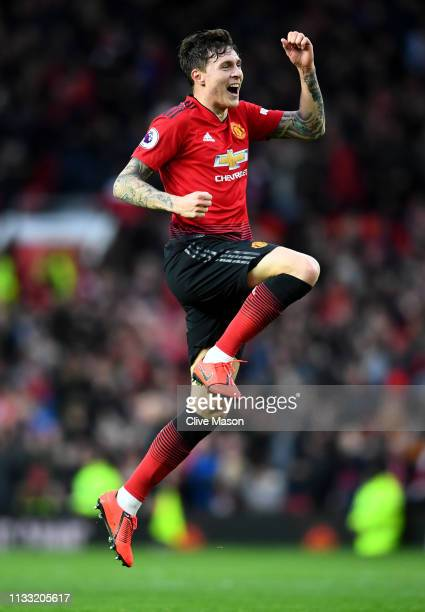 Victor Lindelof of Manchester United celebrates his sides third goal during the Premier League match between Manchester United and Southampton FC at...