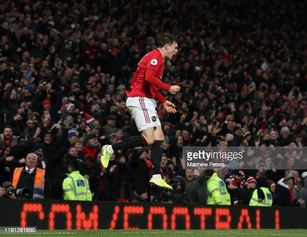 Victor Lindelof of Manchester United celebrates scoring their second goal during the Premier League match between Manchester United and Aston Villa...
