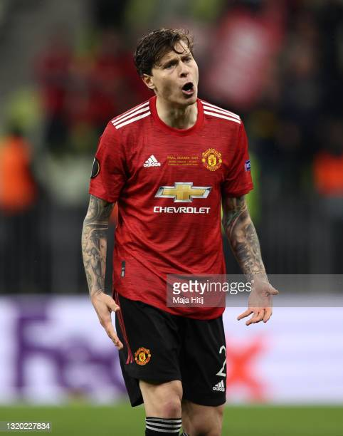 Victor Lindelof of Manchester United celebrates scoring their team's tenth penalty in the penalty shoot out during the UEFA Europa League Final...