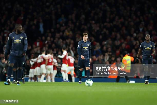 Victor Lindelof of Manchester United dejected after PierreEmerick Aubameyang of Arsenal scored a goal to make it 20 during the Premier League match...