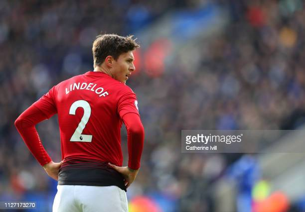Victor Lindelof of Manchester United during the Premier League match between Leicester City and Manchester United at The King Power Stadium on...