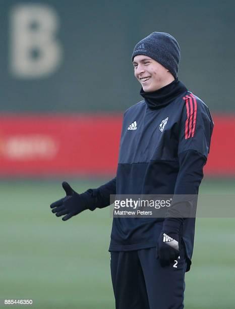 Victor Lindelof of Manchester United in action during a first team training session at Aon Training Complex on December 4 2017 in Manchester England