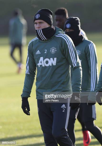 Victor Lindelof of Manchester United in action during a first team training session at Aon Training Complex on December 28 2017 in Manchester England