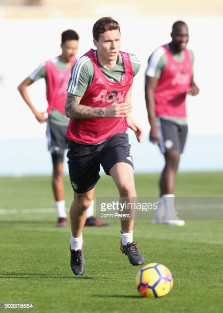 Victor Lindelof of Manchester United in action during a first team training session at Nad Al Sheba Sports Complex on January 10 2018 in Dubai United...