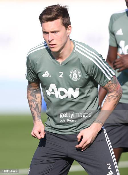 Victor Lindelof of Manchester United in action during a first team training session at Nad Al Sheba Sports Complex on January 11 2018 in Dubai United...