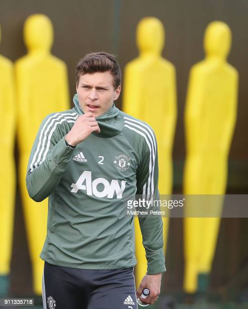 Victor Lindelof of Manchester United in action during a first team training session at Aon Training Complex on January 28 2018 in Manchester England