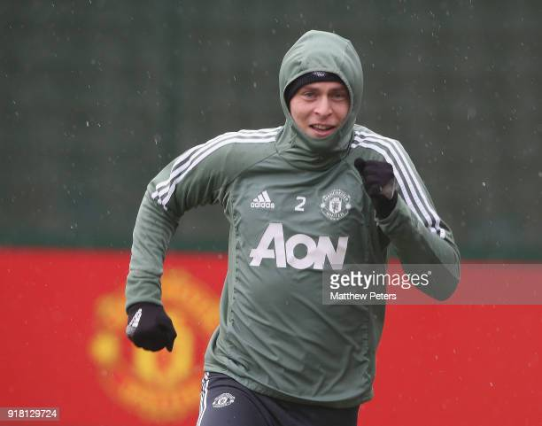 Victor Lindelof of Manchester United in action during a first team training session at Aon Training Complex on February 14 2018 in Manchester England