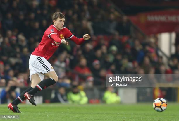 Victor Lindelof of Manchester United in action during the Emirates FA Cup Third Round match between Manchester United and Derby County at Old...