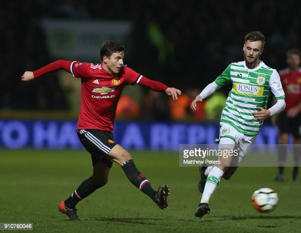 Victor Lindelof of Manchester United in action during the Emirates FA Cup Fourth Round match between Yeovil Town and Manchester United at Huish Park...