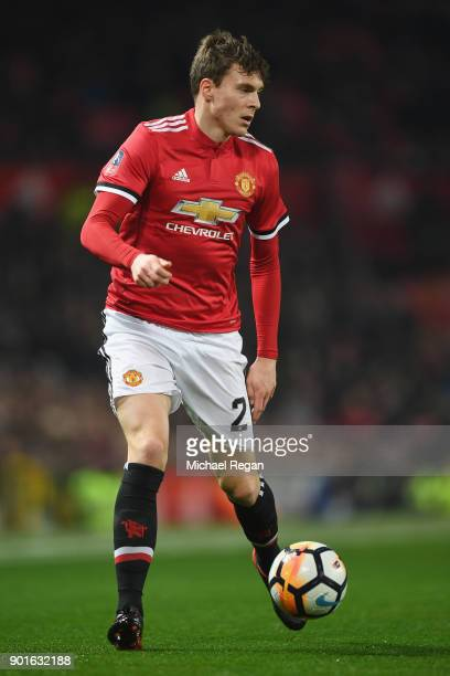 Victor Lindelof of Manchester United in action during the FA Cup 3rd round match between Manchester United and derby County at Old Trafford on...