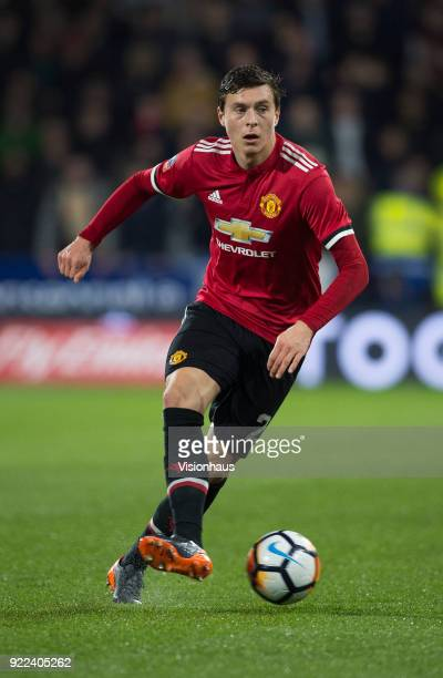 Victor Lindelof of Manchester United in action during the FA Cup Fifth Round match between Huddersfield Town and Manchester United at the Kirklees...
