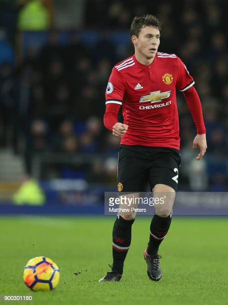 Victor Lindelof of Manchester United in action during the Premier League match between Everton and Manchester United at Goodison Park on January 1...