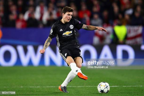 Victor Lindelof of Manchester United in action during the UEFA Champions League Round of 16 First Leg match between Sevilla FC and Manchester United...