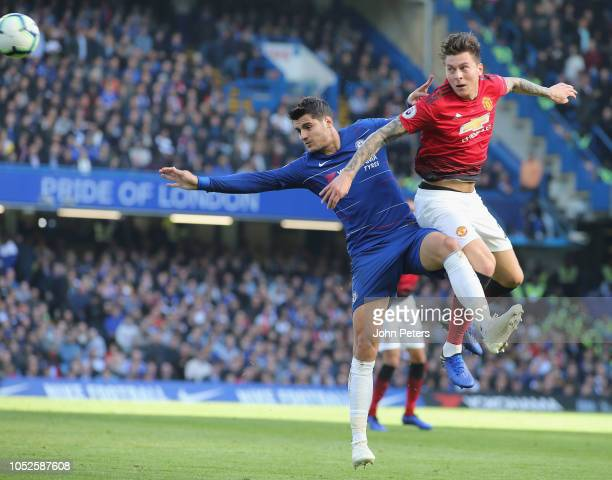 Victor Lindelof of Manchester United in action with Alvaro Morata of Chelsea during the Premier League match between Chelsea FC and Manchester United...