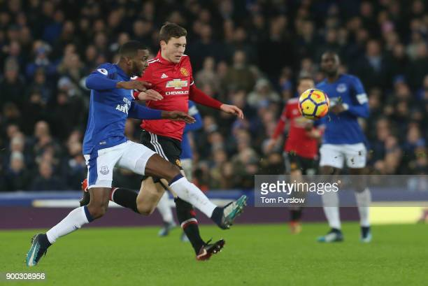 Victor Lindelof of Manchester United in action with Cuco Martina of Everton during the Premier League match between Everton and Manchester United at...