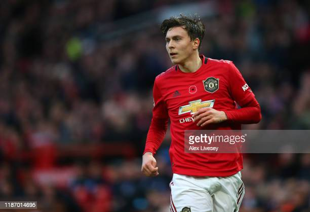 Victor Lindelof of Manchester United looks on during the Premier League match between Manchester United and Brighton Hove Albion at Old Trafford on...