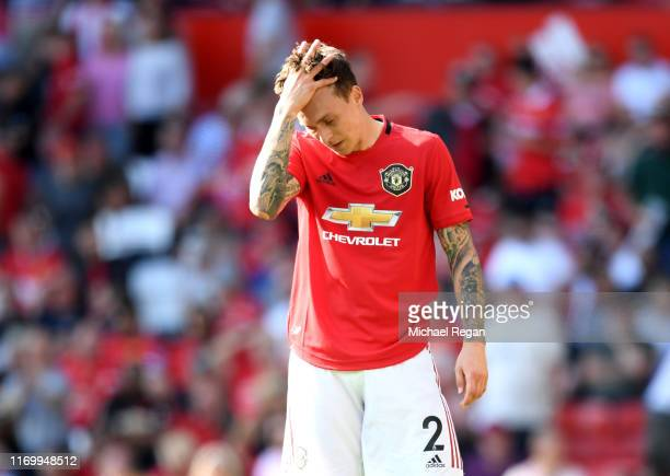 Victor Lindelof of Manchester United reacts during the Premier League match between Manchester United and Crystal Palace at Old Trafford on August 24...