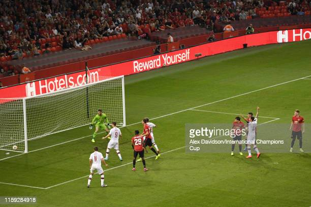 Victor Lindelof of Manchester United scores an own goal to make the score 1-2 during the 2019 International Champions Cup match between Manchester...