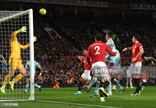 Victor Lindelof of Manchester United scores his sides second goal during the Premier League match between Manchester United and Aston Villa at Old...