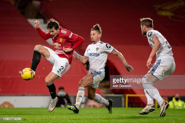 Victor Lindelof of Manchester United scores their fourth goal during the Premier League match between Manchester United and Leeds United at Old...