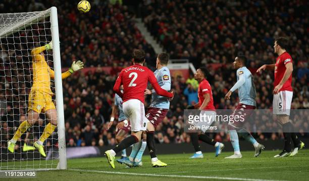 Victor Lindelof of Manchester United scores their second goal during the Premier League match between Manchester United and Aston Villa at Old...
