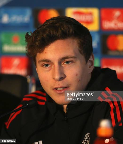 Victor Lindelof of Manchester United speaks during a press conference at Aon Training Complex on December 4 2017 in Manchester England