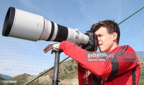 Victor Lindelof of Manchester United takes a photo during a first team training session on February 12 2020 in Malaga Spain