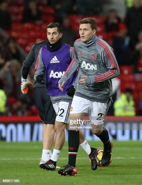 Victor Lindelof of Manchester United warms up ahead of the Premier League match between Manchester United and Southampton at Old Trafford on December...