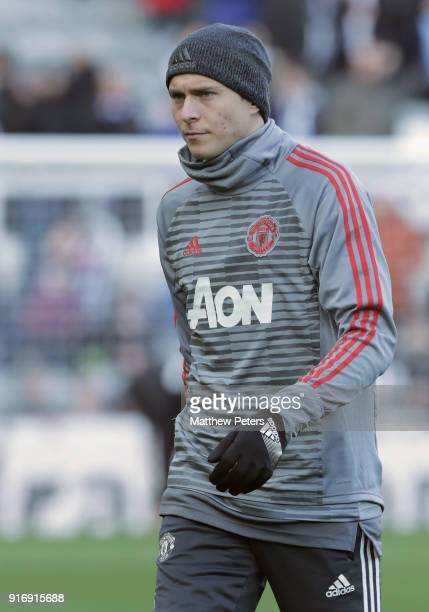 Victor Lindelof of Manchester United warms up ahead of the Premier League match between Newcastle United and Manchester United at St James Park on...