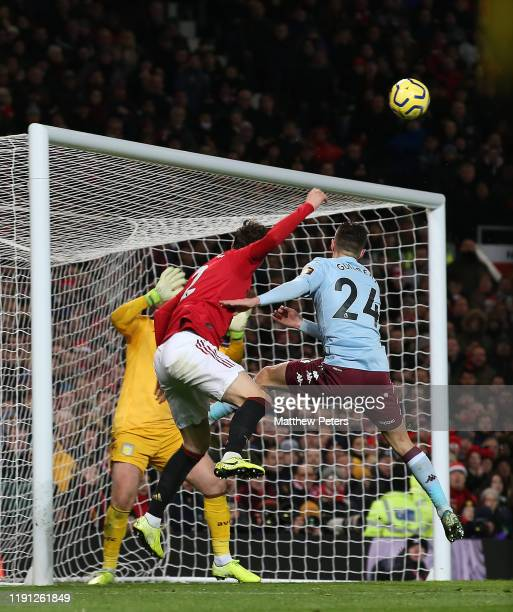 Victor Lindelof of Manchester Unitedscores their second goal during the Premier League match between Manchester United and Aston Villa at Old...