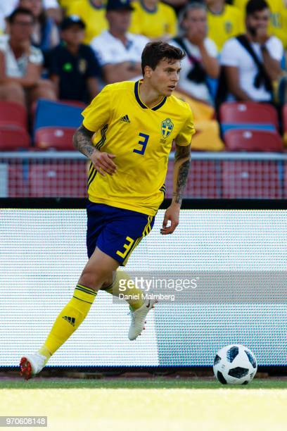 Victor Lindelof of Sweden focused on the ball during the international friendly match between Sweden v Peru at the Ullevi Stadium on June 9 2018 in...