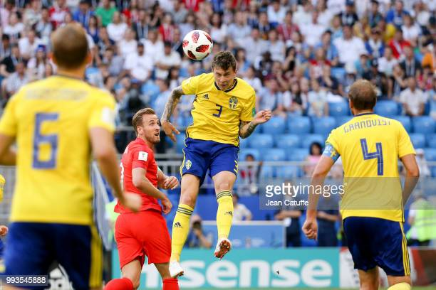Victor Lindelof of Sweden Harry Kane of England during the 2018 FIFA World Cup Russia Quarter Final match between Sweden and England at Samara Arena...