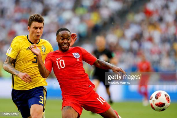 Victor Lindelof of Sweden in action against Raheem Sterling of England during the 2018 FIFA World Cup Russia quarter final match between Sweden and...