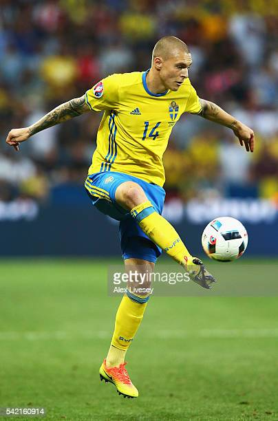 Victor Lindelof of Sweden in action during the UEFA EURO 2016 Group E match between Sweden and Belgium at Allianz Riviera Stadium on June 22 2016 in...