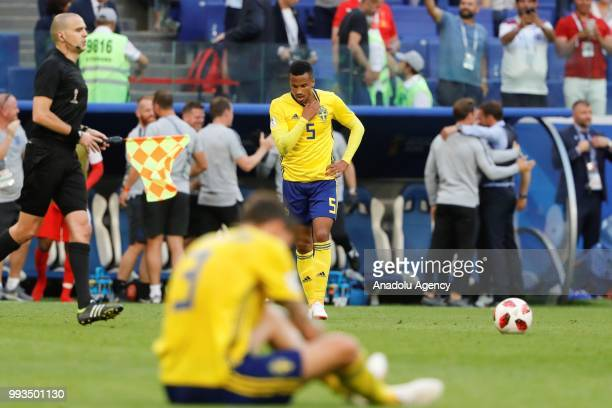 Victor Lindelof of Sweden is seen after losing against England on the 2018 FIFA World Cup Russia quarter final match between Sweden and England at...